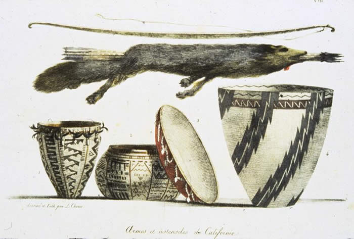 Weapons and Baskets, a drawing by Louis Choris in 1816  Courtesy, The Bancroft Library