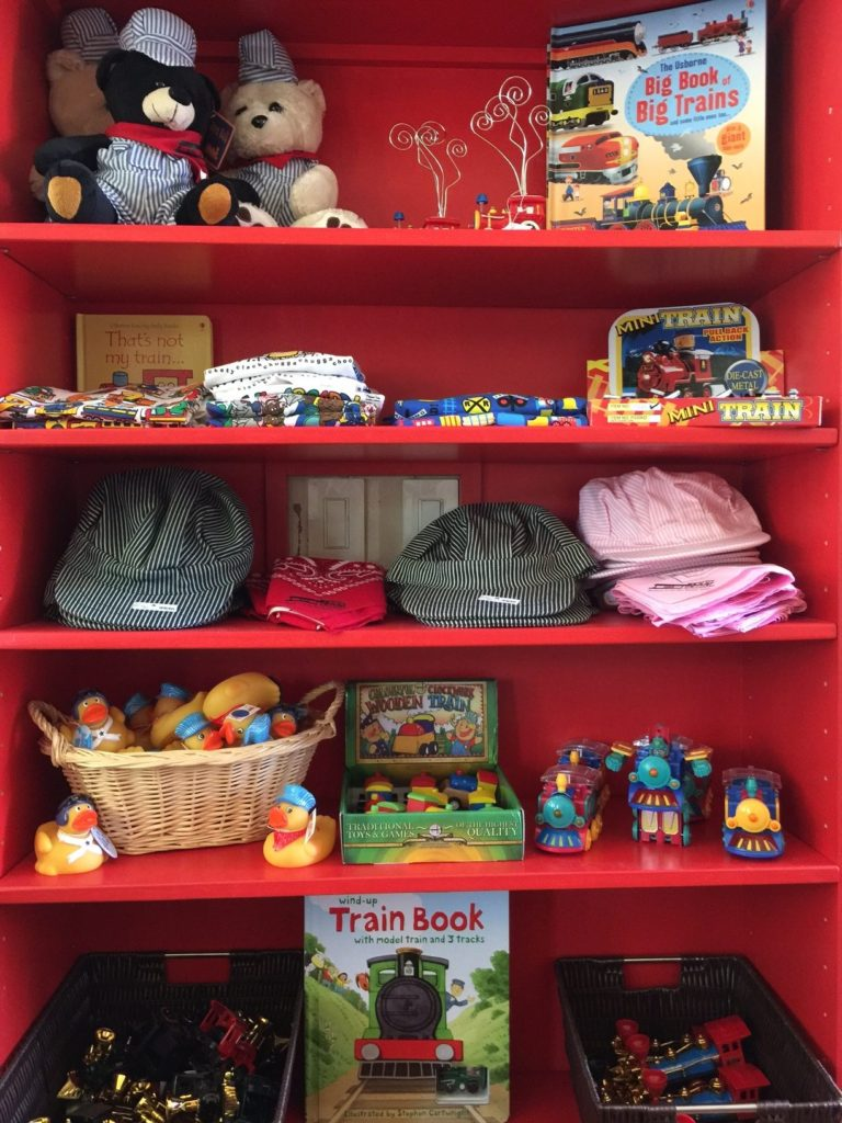 Train toys, t-shirts and hats available