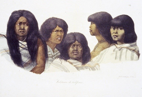 Drawing by Louis Choris of Bay Area Indians, 1816, Courtesy, the Bancroft Library                                      Woman on the right (two views) is identified as Saclan