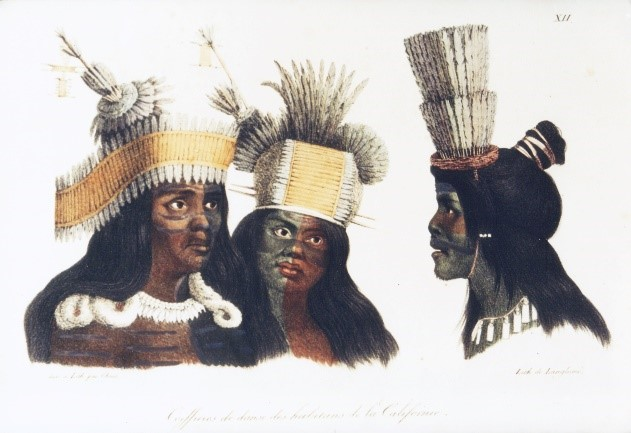Bay Area Indians in Dance Regalia by Louis Choris, 1816, Courtesy the Bancroft Library